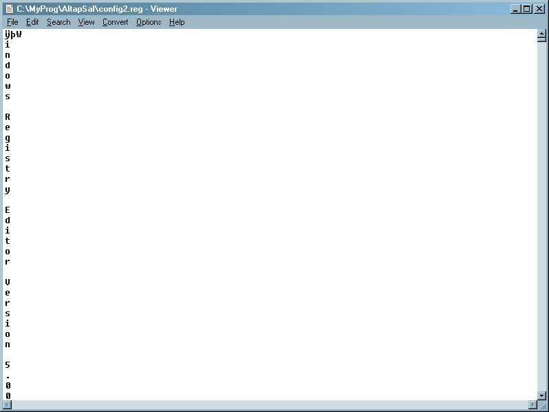 Windows Registry Editor Version 5.00 .reg-file in the internal viewer